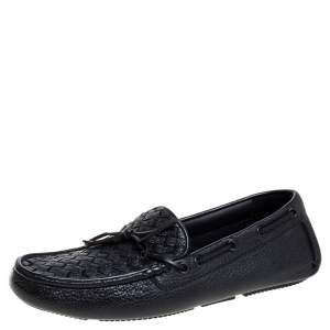 Bottega Veneta Black Intrecciato Leather Cervo Wave Driver Bow Loafers Size 40