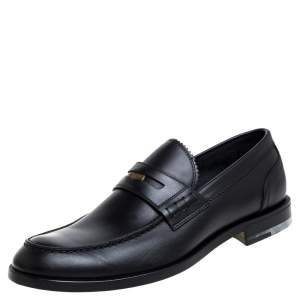 Bottega Veneta Black Leather Penny Loafers Size 42.5