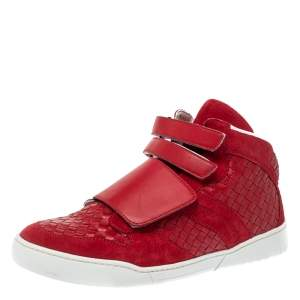 Bottega Veneta Red Intrecciato Leather and Suede Velcro Strap High Top Sneakers Size 42