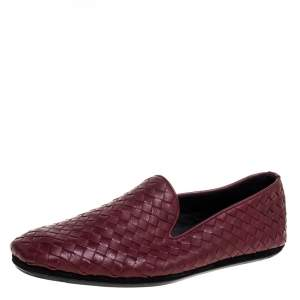 Bottega Veneta Burgundy Intrecciato Leather Smoking Slippers Size 41
