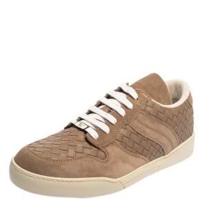 Bottega Veneta Brown Intrecciato Leather And Suede Low Top Sneakers Size 43