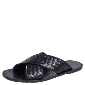 Bottega Veneta Black Intrecciato Leather Cross Strap Flat Slides Size 43
