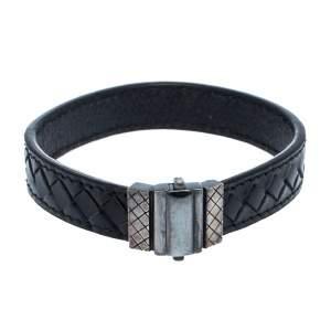 Bottega Veneta Black Intrecciato Woven Leather Sterling Silver Bracelet S