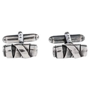 Bottega Veneta Sterling Silver Intrecciato Cufflinks