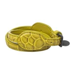 Bottega Veneta Green Crocodile Double Wrap Around Bracelet M