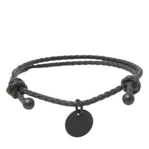 Bottega Veneta Grey Intrecciato Leather Double Cord Bracelet