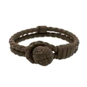 Bottega Veneta Military Green Intrecciato Leather Bracelet