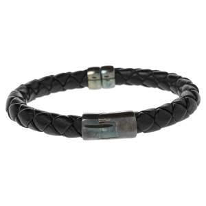Bottega Veneta Black Intrecciato Leather Sterling Silver Bracelet