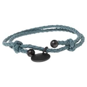 Bottega Veneta Blue Intrecciato Leather Adjustable Bracelet