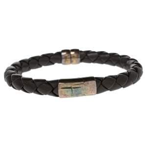 Bottega Veneta Brown Intrecciato Leather Sterling Silver Bracelet