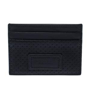 Bottega Veneta Black Perforated Leather Leggero Card Holder