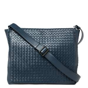 Bottega Veneta Navy Blue Intrecciato Leather Flap Messenger Bag
