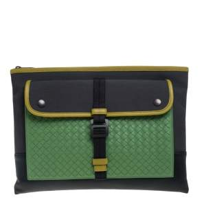 Bottega Veneta Multicolor Intrecciato Leather and Canvas Front Pocket Zip Clutch