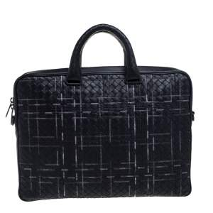 Bottega Veneta Black Intrecciato Leather Stitched Detail Briefcase