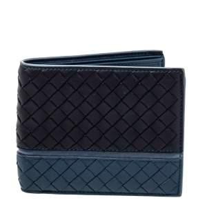 Bottega Veneta Black/Blue Intrecciato Leather Bifold Wallet