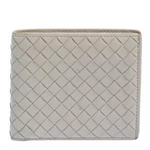 Bottega Veneta Off White Intrecciato Leather Bifold Wallet