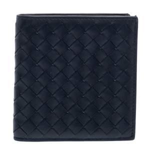 Bottega Veneta Navy Blue Intrecciato Leather Card Holder