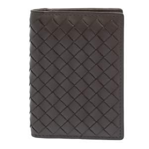Bottega Veneta Grey Intrecciato Leather Card Holder