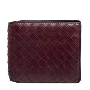Bottega Veneta Maroon Intrecciato Leather Bifold Wallet