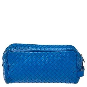 Bottega Veneta Blue Intrecciato Leather Toilerty Pouch