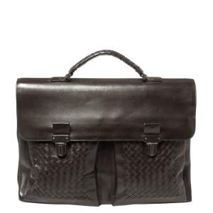 Bottega Veneta Dark Brown Intrecciato Leather Briefcase