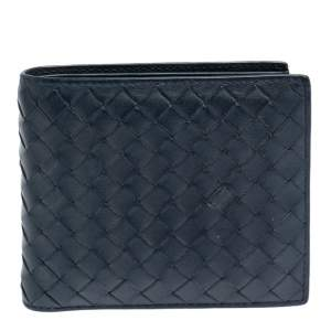 Bottega Veneta Blue Intrecciato Leather Bifold Wallet