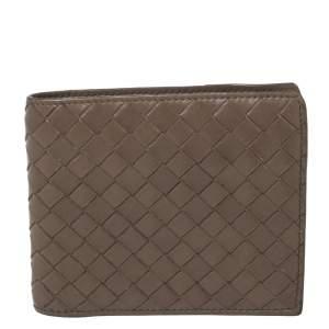 Bottega Veneta Beige Intrecciato Leather Bifold Wallet