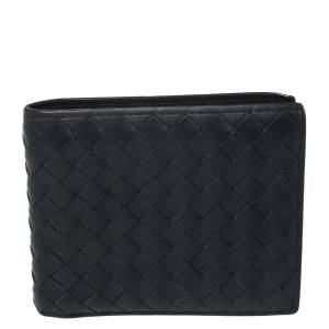 Bottega Veneta Navy Blue Intrecciato Leather Bifold Wallet