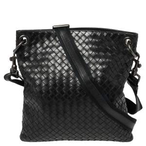 Bottega Veneta Black Intrecciato Leather Messenger Bag
