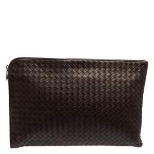 Bottega Veneta Dark Brown Intrecciato Leather Zip Document Case