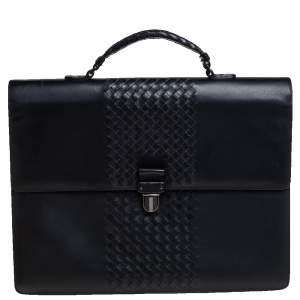 Bottega Veneta Black Intrecciato Leather Flap Briefcase