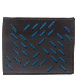 Bottega Veneta Black/Blue Laser Cut Leather Card Holder