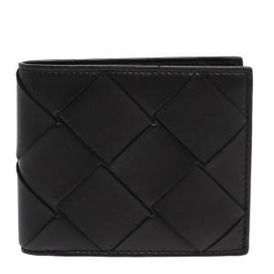 Bottega Venetta Black Maxi Intrecciato Leather Bifold Wallet