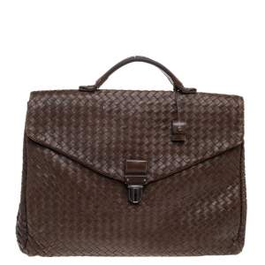 Bottega Veneta Brown Intrecciato Leather Briefcase
