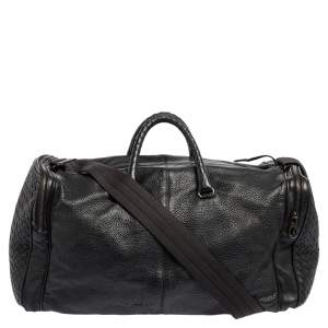 Bottega Veneta Black Intrecciato Leather Duffle Bag