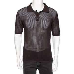 Bottega Veneta Dark Grey Open Knit Rib Trim Detailed Polo T-Shirt L