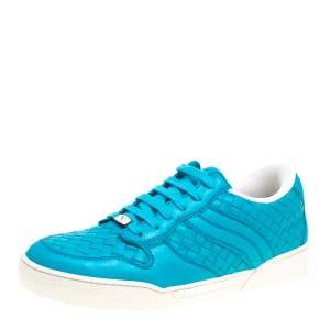 Bottega Veneta Blue Intrecciato Leather Speedster Sneakers Size 41.5