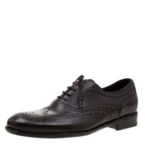 Bottega Veneta Brown Leather Brogue Oxfords Size 42