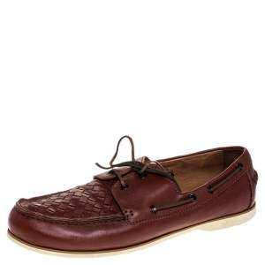 Bottega Veneta Maroon Intrecciato Leather Driving Loafer Size 43