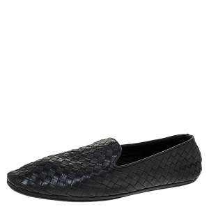 Bottega Veneta Black Intrecciato Leather Smoking Slippers Size 41