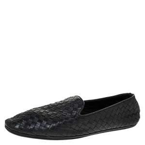 Bottega Veneta Black Intrecciato Leather Smoking Slippers Size 41