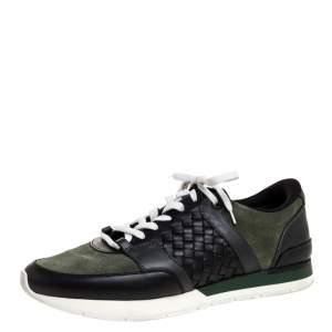 Bottega Veneta Black Intrecciato Leather and Green Suede Sneakers Size 41