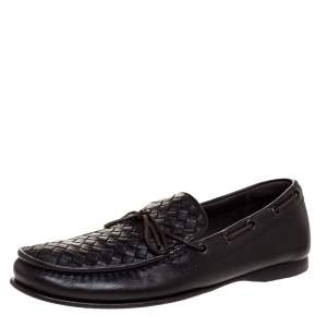 Bottega Veneta Dark Brown Intrecciato Leather Bow Slip On Loafers Size 41.5