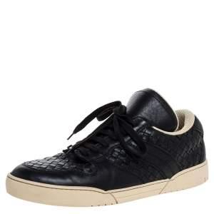 Bottega Veneta Black Intrecciato Leather Lace Up Low Top Sneakers Size 41