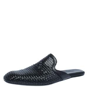 Bottega Veneta Black Woven Leather Espresso Fiandra Mules Size 41