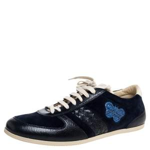 Bottega Veneta Blue Suede and Leather Butterfly Sneakers Size 43.5