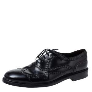 Bottega Veneta Black Leather Lace-Up Oxfords Size 45