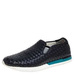 Bottega Veneta Black Intrecciato Leather Slip On Sneakers Size 44