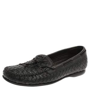 Bottega Veneta Black Intrecciato Leather Loafers Size 42