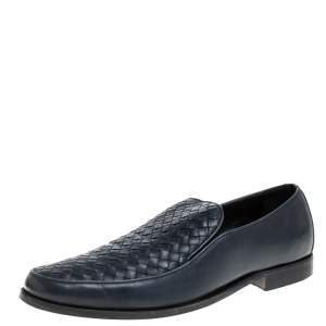 Bottega Veneta Navy Blue Intrecciato Leather Slip On Loafers SIZE 44.5